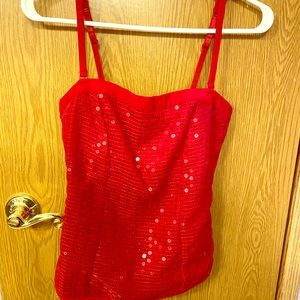 Glamorous Red Sequin Top